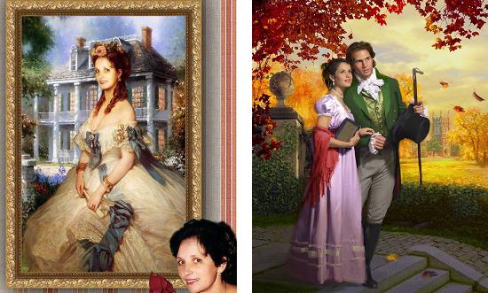 Пример коллажей в стиле классических портретов